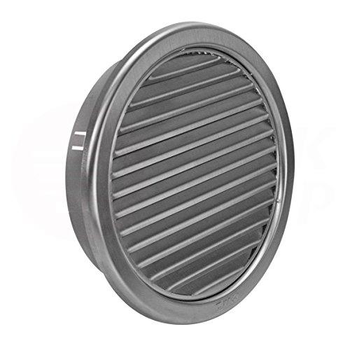 MKK Wetterschutz Lamellen Edelstahl Lüftungsgitter Ø 150 mm Zuluft Abluft rund mit Insektennetz Garage Küche Bad Wand Lufthaube