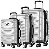 Andreas Dell REISEKOFFER REISEKOFFERSET 3 Set Trolley Koffer Farbe Silber TSA Schloß XL L M...