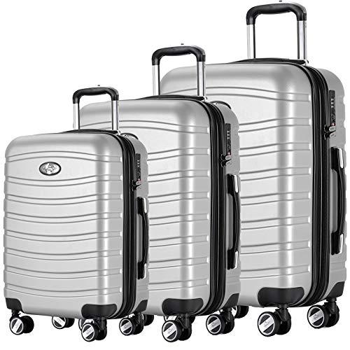 Andreas Dell REISEKOFFER REISEKOFFERSET 3 Set Trolley Koffer Farbe Silber TSA Schloß XL L M Kofferset REISEKOFFER …