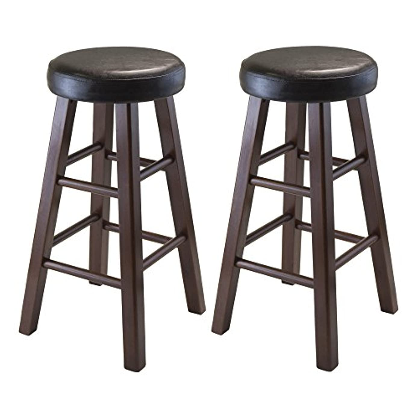 Winsome Wood Marta Assembled Round Counter Stool with PU Leather Cushion Seat, Square Legs, 25.4-Inch, Set of 2