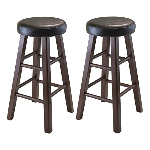 Winsome Wood Marta Assembled Round Counter Stool with PU Leather Cushion Seat Square Legs 254Inch Set of 2