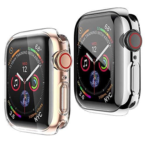 HENGBOK Hülle mit Bildschirmschutz für Apple Watch Series 3/2/1 38mm, 2 Stück iWatch Schutzhülle Voller Schutz Superdünn Weiche TPU Hülle Kratzfest Stoßfest Gehäuse - Silber+Transparent
