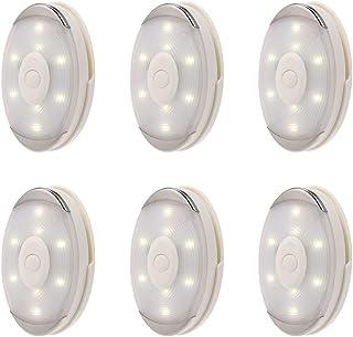 6 قطع من Mobestech 4000K ضوء أبيض يعمل ببطارية جسم الإنسان حساس الأشعة تحت الحمراء ضوء خزائن الضوء (أبيض)