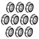 uxcell F688-2RS Flanged Ball Bearing 8x16x5mm Double Sealed Chrome Steel Bearing 10pcs