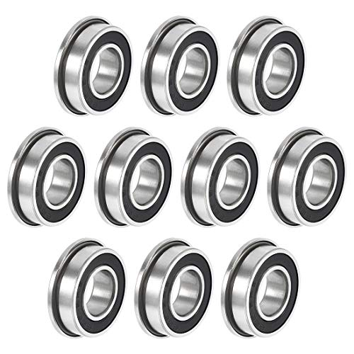 sourcing map F688-2RS Flanged Ball Bearing 8x16x5mm Double Sealed Chrome Steel Bearing 10pcs