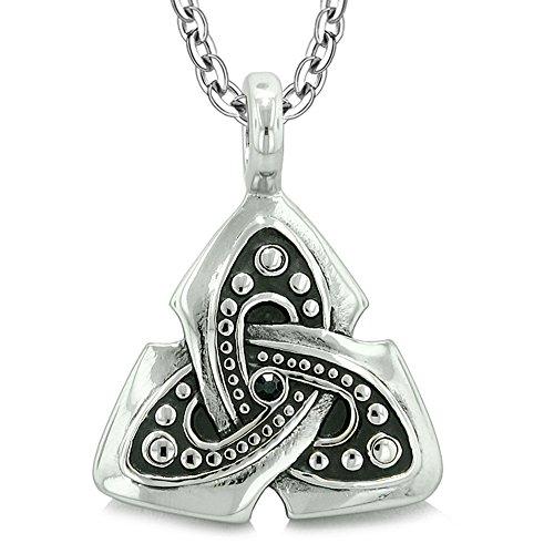 Ancient Viking Celtic Triquetra Knot Amulet Protection Power Royal Black Crystal Pendant 22 Inch Necklace