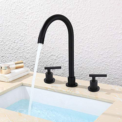 Bathroom Sink Faucet, Elegant 3 Holes Double Handle Water Faucet Hot and Cold Water Tap Mixer Wash Basin Faucet for Kitchen Bathroom Lavatory Matte Black