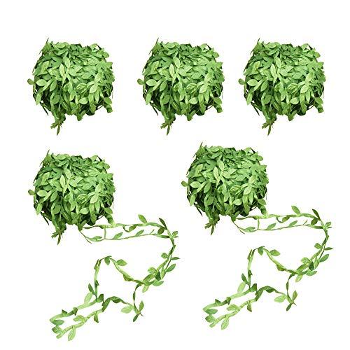 Amajoy Guirnalda artificial para colgar en hojas de follaje artificiales de 100 metros, ideal para decoración de hogar, pared, jardín, rústico, boda, fiesta, coronas y flores, color verde
