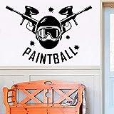 Pegatinas de pared Calcomanías de pared Paintball powder puff sala de estar fuselaje probador colchón armario 84x56cm