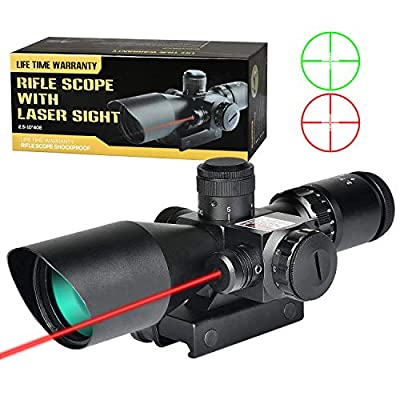 MidTen Rifle Scope 2.5-10 Dual Illuminated Mil-dot Gun Scopes with Red Laser & 20mm Mounts