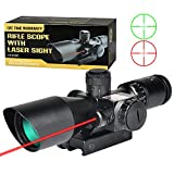 MidTen 2.5-10X Scope Dual Illuminated Mil-dot Optics with Red Laser & 20mm Mounts (2.5-10x40E)