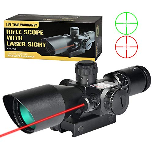 MidTen 2.5-10x40 Red Green Illuminated Mil-dot Tactical Rifle Scope with Red Laser Combo - Green Lens Color & 20mm Mounts