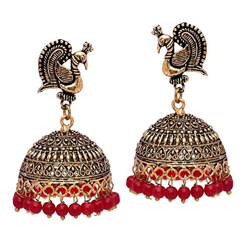V L IMPEX Maroon Non-Precious Metal Brass Jhumka Earrings for Women's Price in India