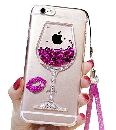 Funda linda para iPhone 7 Plus, 7 Plus, con purpurina líquida, copa de vino de limón, color negro, arena movediza, flotante, brillante, para niñas con cordón para el cuello (rosa)