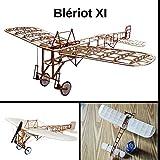 Blériot XI Slow Flyer Kits de Modélisme, Maquette d'avion avec Bois de Balsa, Échelle 1/20, 420 mm d'envergure des Ailes, Kit modèle RC, 368 x 420 x 130 mm, découpé au Laser, Poids en vol 36 GR