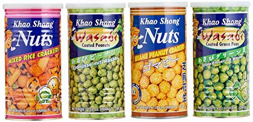 Khao Shong Snack Mix Mischkarton, knusprige Kracker, knackige Erdnüsse & Bohnen, praktischer Snack für unterwegs, verschiedene Sorten, 4 x Dosen - Gesamt 990 g