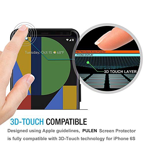 [2-Pack] PULEN Tempered Glass for Google Pixel 4 Privacy Screen Protector,Anti-Spy Self-adhesive Scratch Resistance Anti-fingerprint No-Bubble