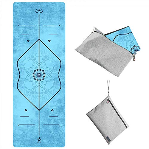 """WWWW PIDO Travel Yoga Mat Suede Natural Rubber Non Slip Gym Mat with Canvas Bag,72""""x26"""" Foldable 1/16 Inch Ultra-Thin mat for Yoga Pilates Fitness Exercise (MeiGuiTiWeiXian)"""