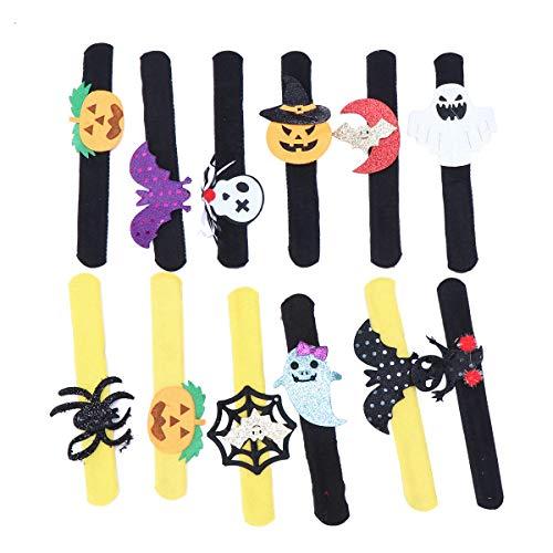 STOBOK 12pcs Slap Pulseras de Halloween Calabazas Murciélagos Arañas Juguete Pulseras Bofetadas para Niños y Adultos