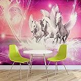 Geflügelte Pferde Pegasus Rosa- Forwall - Fototapete - Tapete - Fotomural - Mural Wandbild - (589WM) - XXXL - 416cm x 254cm - VLIES (EasyInstall) - 4 Pieces