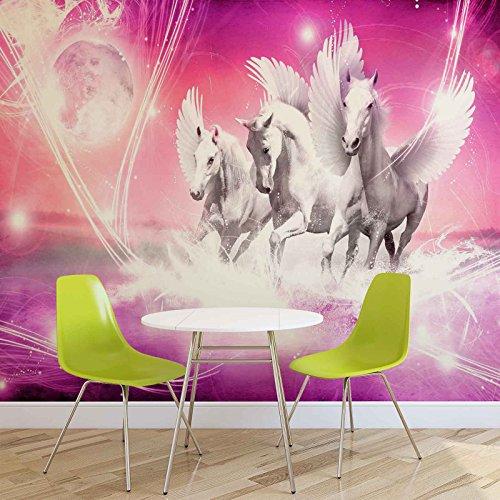 Geflügelte Pferde Pegasus Rosa- Forwall - Fototapete - Tapete - Fotomural - Mural Wandbild - (589WM) - XXL - 312cm x 219cm - VLIES (EasyInstall) - 3 Pieces