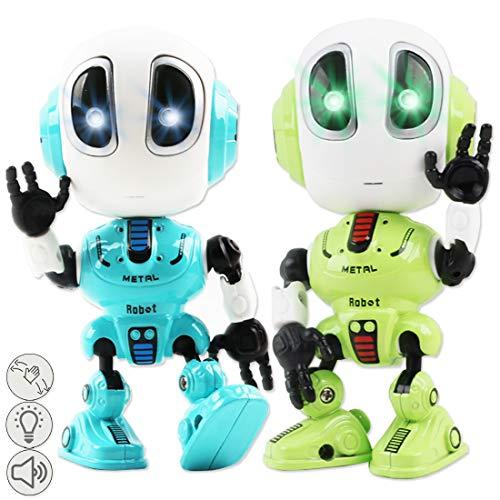 deAO Mini Druckguss Intelligentes Roboterspielzeugspielset mit Aufnahme, Sprechen, Wiederholen, LED-Lichtern, berührungsempfindlichen, beweglichen Gelenken und Funktionen für fremde Stimmen