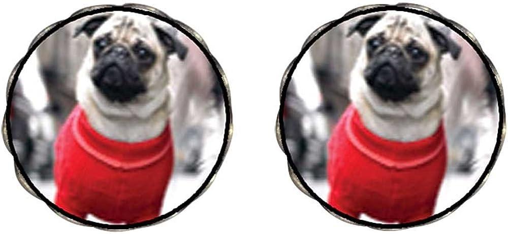 GiftJewelryShop Bronze Retro Style Dressed Up Pug Photo Clip On Earrings Flower Earrings 12mm Diameter