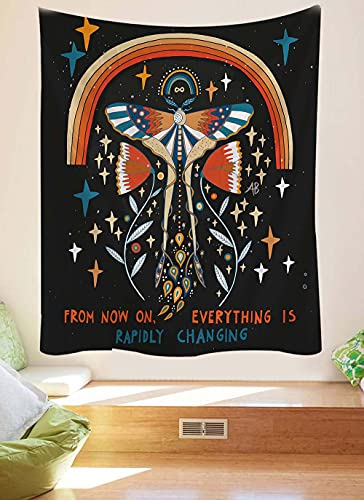 KHKJ Tapiz de decoración de habitación MandalaDecoración de Pared Tapices de Mariposa Decoración del hogar Decoración Boho Tapiz de brujería A3 230x180cm