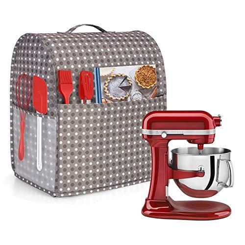 Yarwo Funda para KitchenAid Robots de Cocina, Cubierta para Batidoras Amasadoras, Encaja para Todos Batidoras Amasadoras de 5.7 litros y 7.6 litros(Grande, Puntos Grises)