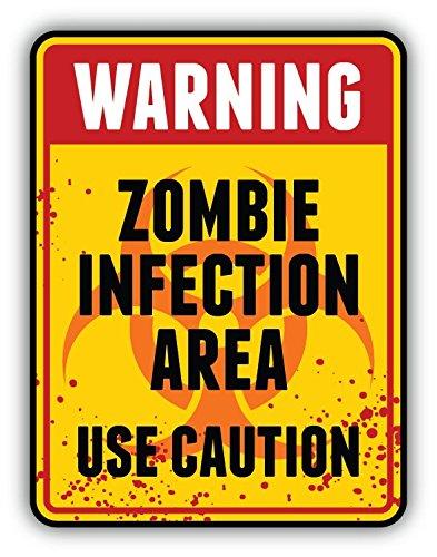 Zombie Infection Area Use Caution Sign Hochwertigen Auto-Autoaufkleber 10 x 12 cm