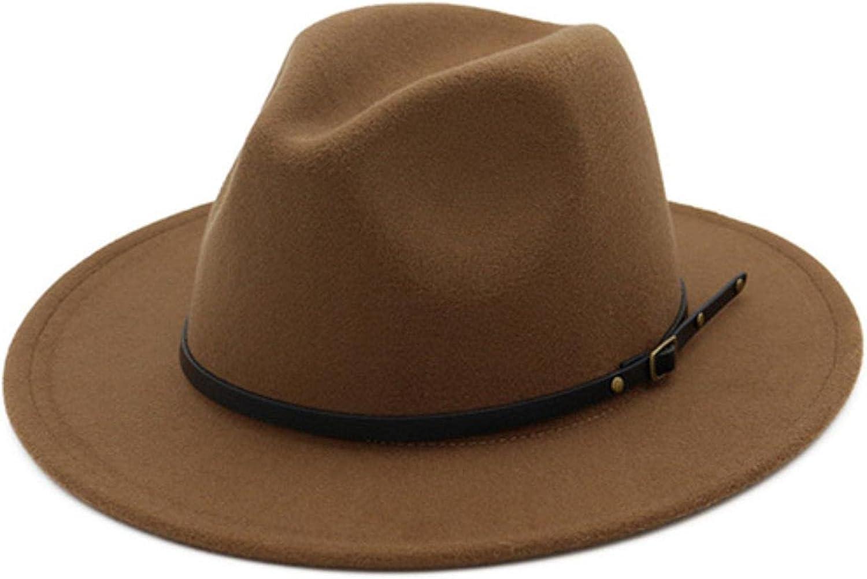 Knitted Wool Hat for Women Felt Hat Panama Hat Wide Brim Women Belt Buckle Fedora solid color summer caps