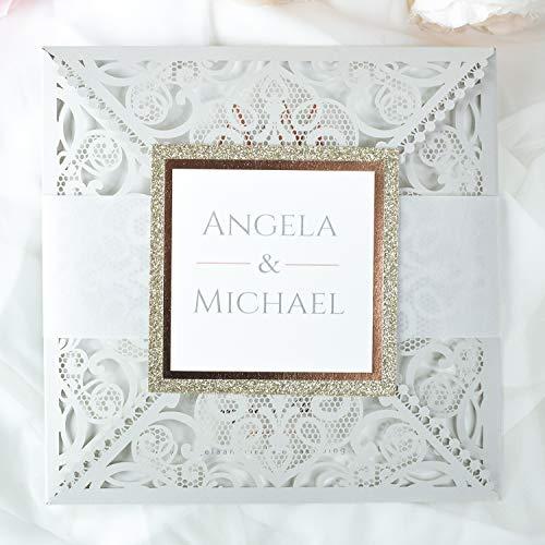 Hellgrau Hochzeit Einladungskarten set DIY Hochzeitskarte - mit Silber Spitze + Kuvert - Probe - Vorgedrucktes Sample!