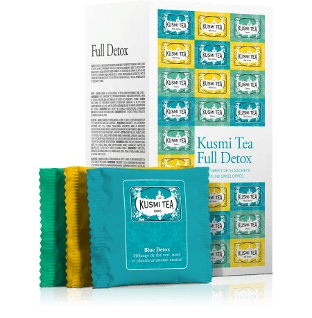 Kusmi Tea - Coffret de thé en sachet Full Detox - Assortiment Thés Verts Aromatisés - Thés Detox, BB Detox, Blue Detox - Boite de 24 sachets mousseline