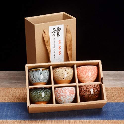 6 Stück Keramik Trinkgeschirr Teegeschirr Chinesisches Kung Fu Tee Set Teetasse Sake Cups 50ml Master Cup Kleine Teeschalen Dekor Geschenk, 2