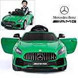 Mercedes Benz AMG GTR Electric Ride On Car with Remote Control for Kids | 12V Power Battery Official Licensed Kid Car to Drive with 2.4G Radio Parental Control Opening Doors Green