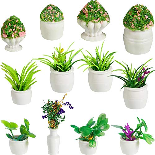 12 Pieces Dollhouse Plant Bonsai Doll House Mini Potted Plant Artificial Tiny Greenery Ornament Miniature Hanging Potted Plant Fake Flower Model Dollhouse Decoration for Boy Girl Present, 6 Types