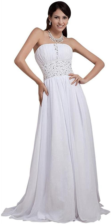 Dearta Women's ALine Strapless Sleeveless Sweep Brush Train Wedding Dresses