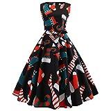 YWLINK Rockabilly Damen Vintage Weihnachten Schneeflocke Drucken Cocktailkleid Langarm Weihnachten Abendgesellschaft Swing Kleid Faltenrock