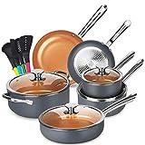 KUTIME Cookware Set 14pcs Non-Sick Pots and Pans Set Ceramic Coating Frying Pan Grill Pan Sauce Pan Stockpot with Lids, Gas, Induction Compatible, Oven Safe