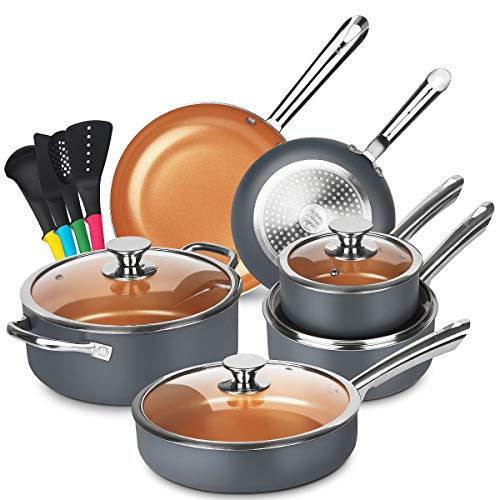 KUTIME Cookware Set 14pcs Non-Sick Pots and Pans Set Ceramic Coating Frying Pan Grill Pan Sauce Pan Stockpot with Lids, Gas, Induction Compatible, Oven Safe