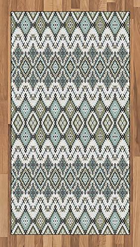 ABAKUHAUS Étnico Alfombra de Área, Arte Geométrico Arabesque, Tejida Acento Decorativo para Sala de Estar o Dormitorio, 80 x 150 cm, Verde Salvia Seafoam
