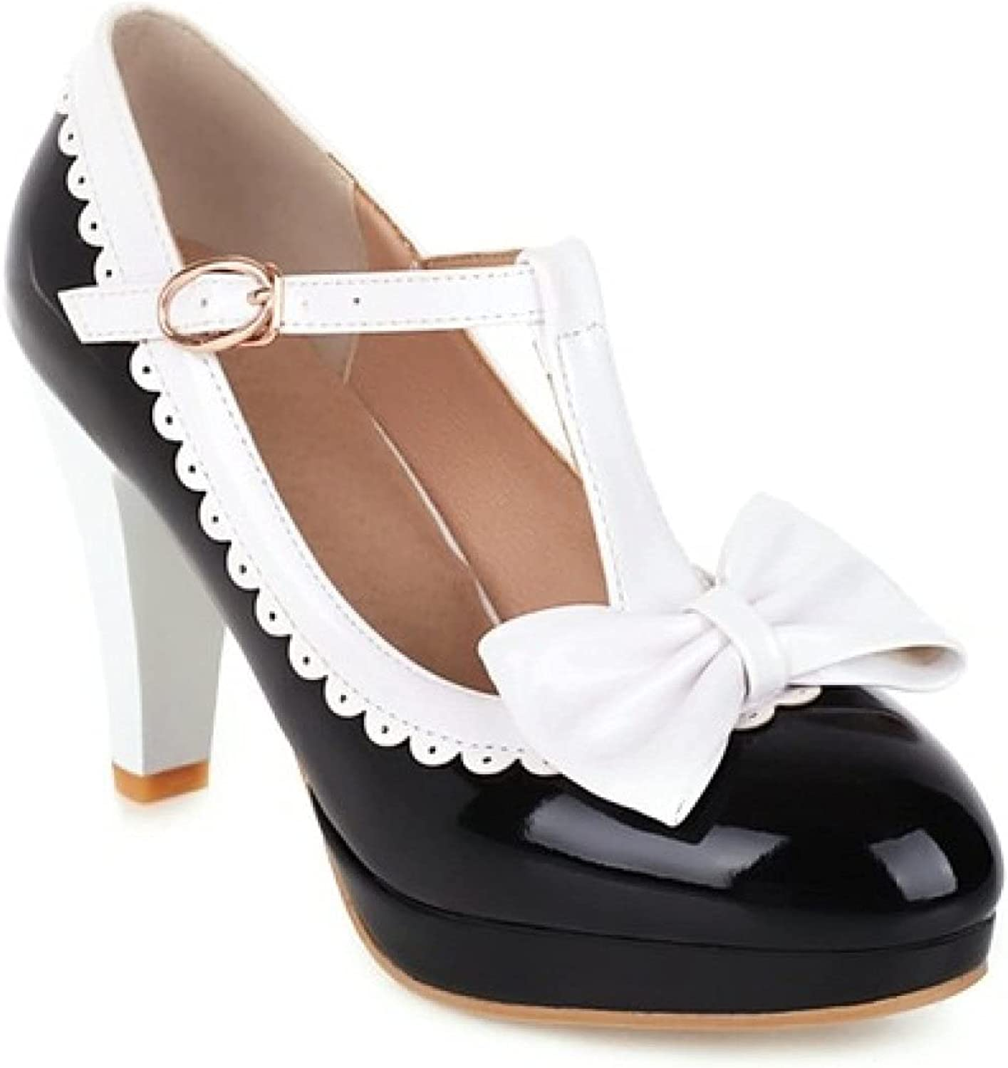 PTONUIC Relaxed Round Toe Mary Jane Pumps of Womans with Formal and Comfort Non-Slip High Heel Dress Shoes for Ladies Girl