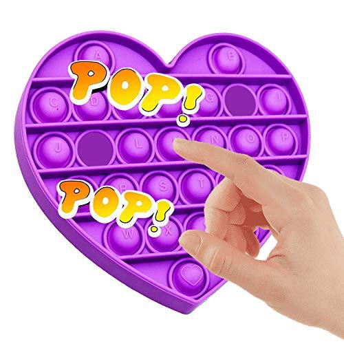 Tanku Toys® Empujar La Burbuja Juguete Sensorial Inquieto | Autismo Necesidades Especiales Alivio del Estrés Juguetes para Aliviar la Ansiedad, Juguete de Escritorio (Corazón Morado)