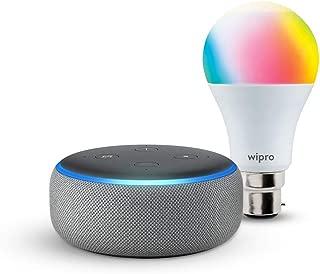 Echo Dot (Grey) bundle with Wipro 9W smart color bulb