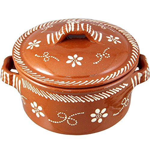 Vintage Portuguese Traditional Clay Terracotta Cazuela Casserole With Lid Made In Portugal (N.1 6 5/8' Diameter)