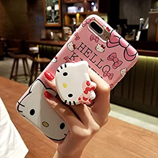 iPhone 8 Plus/7 Plus Hello Kitty Case, Cute Cartoon Case, Bracket Kickstand Soft Protective Shockproof Stand Holder Case Cover Skin for Apple iPhone (Bowknot, for iPhone 8 Plus/7 Plus)