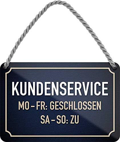 Cartel de chapa con texto en alemán 'KUNDENSERVICE' decorativo para puerta de entrada de casa, cartel colgante para tienda, cartel divertido regalo de cumpleaños o Navidad 18 x 12 cm