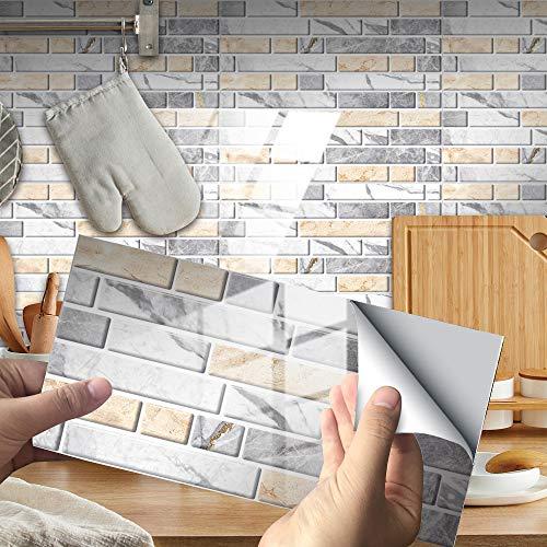 Hiseng 12 Piezas Adhesivos Decorativos para Azulejos Pegatinas para Baldosas del Baño/Cocina Impresión de Estilo mármol 3D Resistente al Agua Pegatina de Pared -20x10cm (Gris cálido)
