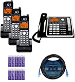 Motorola ML25260 2-Line Corded Phone with Digital Answering System Bundle with 3-Pack of ML25055 DECT 6.0 Cordless Handsets, Blucoil 10-FT 1 Gbps Cat5e Cable, and 10 AAA Batteries