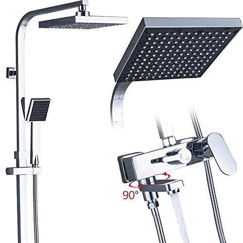 DAMO&GUYAN Sistema de grifos de Ducha de baño, Ducha mezcladora de baño, grifos de bañera Ducha de Lluvia Grifo de Pared Cabezal de Ducha,Tipo de Cabeza de Cara Negra